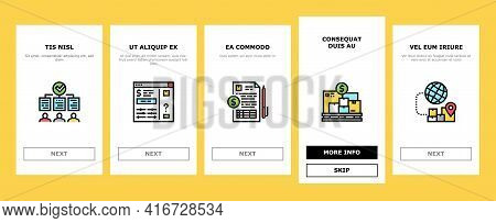 Procurement Process Onboarding Mobile App Page Screen Vector. Procurement Warehouse And Contract, Pu