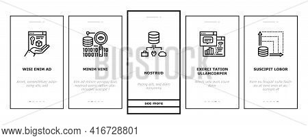 Digital Processing Onboarding Mobile App Page Screen Vector. File Compression And Visualization, Dow