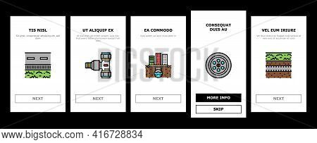 Drainage Water System Onboarding Mobile App Page Screen Vector. Road And House, City And Industry Dr