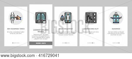 Radiology Equipment Onboarding Mobile App Page Screen Vector. Mri And Ultrasound, Ct Scan And Fluoro