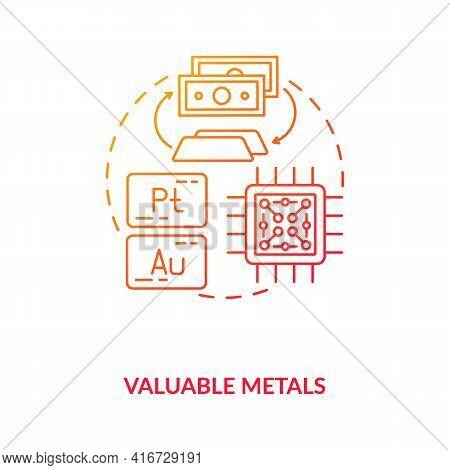 Valuable Metals Concept Icon. E-waste Component Idea Thin Line Illustration. Platinum, Gold. Product
