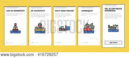 Container Port Tool Onboarding Mobile App Page Screen Vector. Port Crane Loader For Loading Boxes On