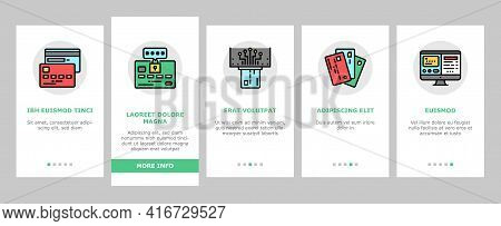 Plastic Card Payment Onboarding Mobile App Page Screen Vector. Contactless Nfc System Credit Card An