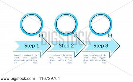 Blue Circles Steps Vector Infographic Template. Bright Presentation Design Elements With Text Space.