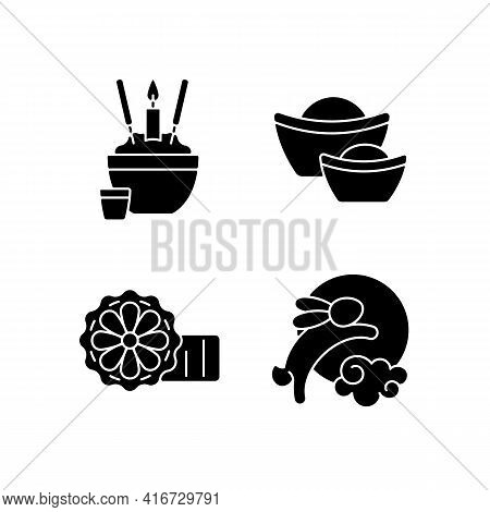 China National Holidays Black Glyph Icons Set On White Space. Rice Bowl. Gold Ingots. Mooncakes. Moo