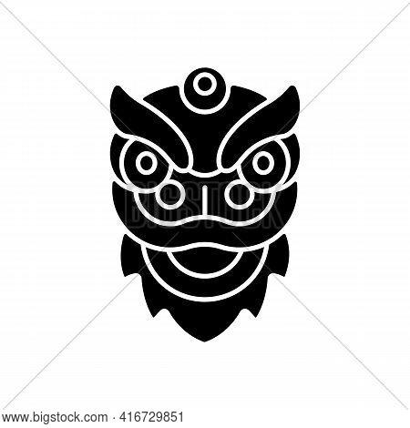 Dragon Dance Black Glyph Icon. Chinese New Year. Spring Festival. Rhythmic Movement. Expressing Grat