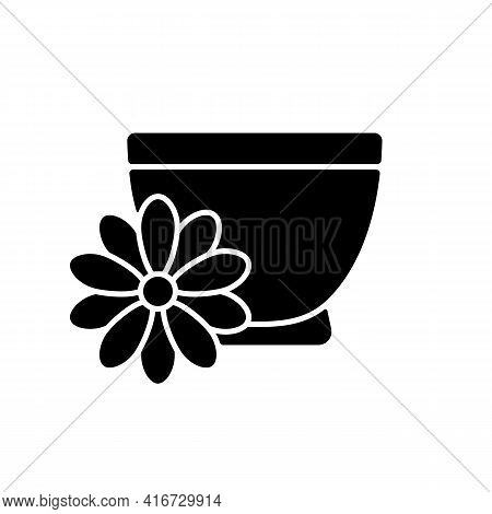 Chrysanthemum Tea Black Glyph Icon. Double Ninth Festival. Flower-based Infusion Drink. Traditional