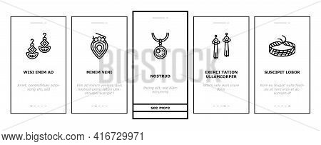 Handmade Jewellery Onboarding Mobile App Page Screen Vector. Baubles And Chains, Bijouterie And Brac