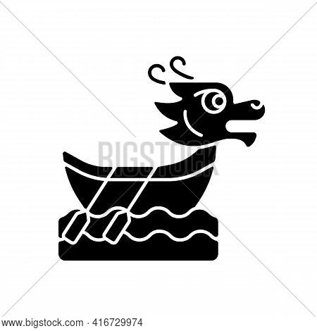 Dragon Boat Festival Black Glyph Icon. Tuen Ng. Ornately Carved Boats. Sacred Ceremony. Cultural Act