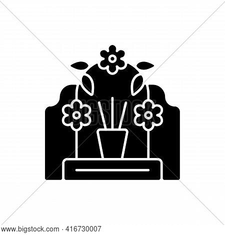 Tomb Sweeping Day Black Glyph Icon. Qingming Festival. Chinese Memorial Day. Pomegranate And Willow