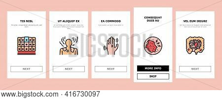 Disease Human Problem Onboarding Mobile App Page Screen Vector. Epithelial Tissue And Toxoplasmosis,