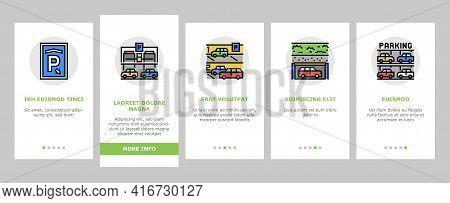 Underground Parking Onboarding Mobile App Page Screen Vector. Underground Multilevel Parking Buildin