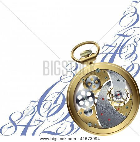 A corner pattern with a golden watch inside parts. Raster image. Find editable version in my portfolio.