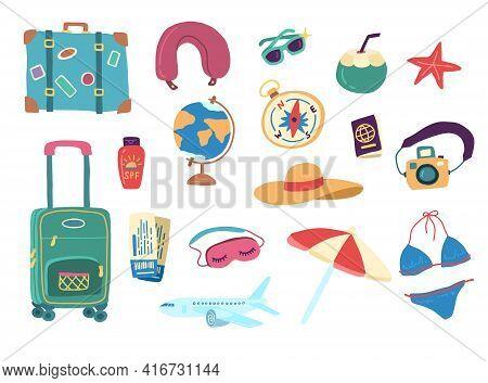 Cartoon Color Travel Stuff Icon Set. Vector