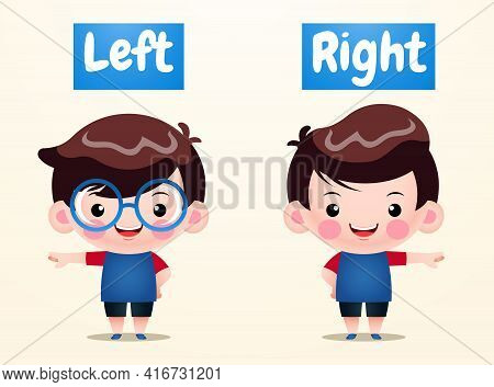 Illustration Vector Graphic Of Cute Boys Opposite Left Right. Perfect For Children Book Illustration