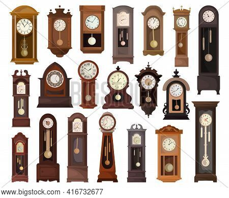Antique Clock Isolated Cartoon Set Icon. Vector Illustration Old Watch On White Background. Vector C