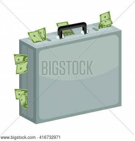 Case Dollar Bill Cartoon Vector Icon.cartoon Vector Illustration Of Bundle Money Icon.case With Bund