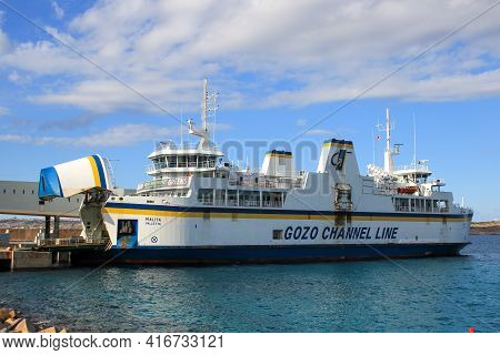 Mellieha, Malta - October 20, 2020: The Gozo Channel Line Operates The Crossing Between The Two Isla