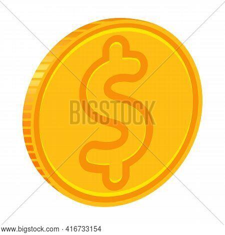 Dollar Coin Cartoon Vector Icon.cartoon Vector Illustration Of Coin Of Dollar Icon.illustration Isol