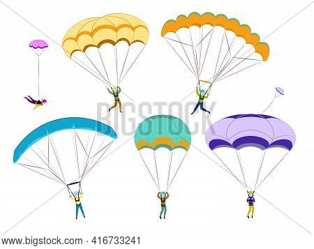 Set Of Parachutists Involved In Dangerous Sports Making Jumps In The Sky With A Parachute. Paratroop