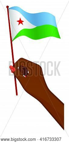 Female Hand Gently Holds Small Flag Of Djibouti. Holiday Design Element. Cartoon Vector On White Bac