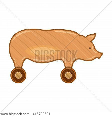 Wooden Pig Vector Icon.cartoon Vector Icon Isolated On White Background Wooden Pig.