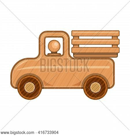 Wood Car Vector Icon.cartoon Vector Icon Isolated On White Background Wood Car.