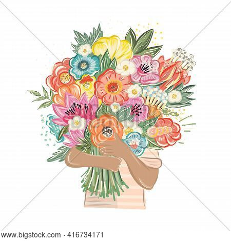 Beautiful Flower Bouquet. Wedding Invitation Or Greeting Card. Woman Holding A Flower Bouquet.