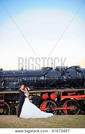 Happy Wedding Bride And Groom