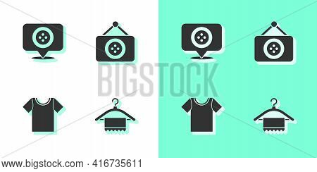 Set Hanger Wardrobe, Location Tailor Shop, T-shirt And Tailor Icon. Vector