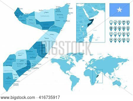 Somalia Detailed Administrative Blue Map With Country Flag And Location On The World Map. Vector Ill
