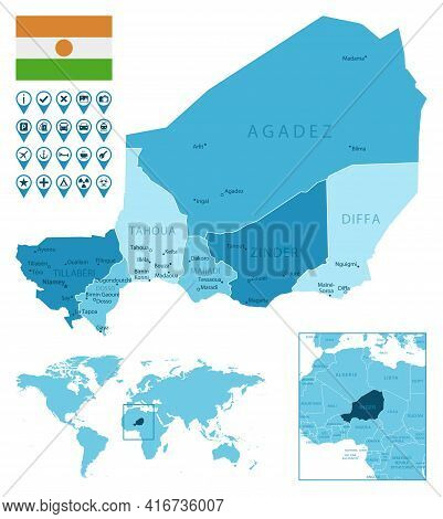 Niger Detailed Administrative Blue Map With Country Flag And Location On The World Map. Vector Illus