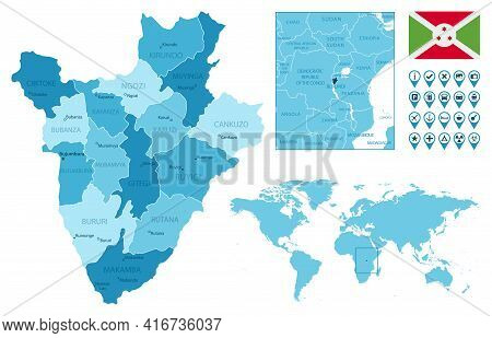 Burundi Detailed Administrative Blue Map With Country Flag And Location On The World Map. Vector Ill