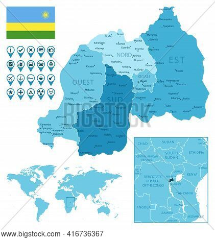 Rwanda Detailed Administrative Blue Map With Country Flag And Location On The World Map. Vector Illu