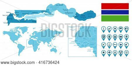 Gambia Detailed Administrative Blue Map With Country Flag And Location On The World Map. Vector Illu