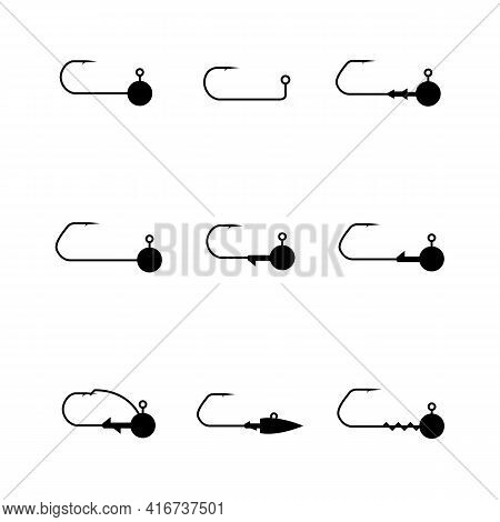 Fishing Accessories, Set Of Different Jig Heads. Black Silhouettes On A White Background, Vector Ill