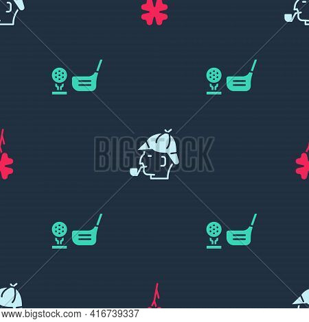 Set Four Leaf Clover, Sherlock Holmes And Golf Club With Ball On Tee On Seamless Pattern. Vector