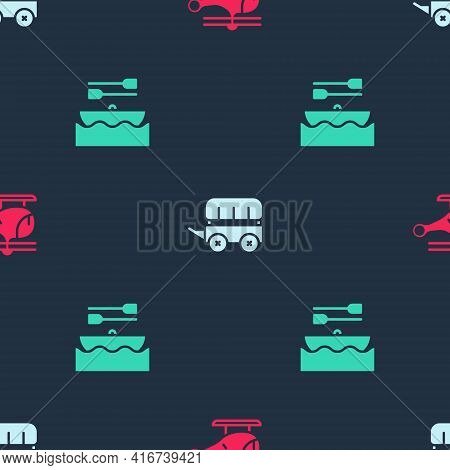 Set Helicopter, Wild West Covered Wagon And Boat With Oars On Seamless Pattern. Vector