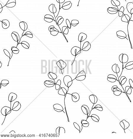 Eucalyptus Branches In Modern Single Line Art Style, Seamless Pattern. Continuous Line Drawing, Aest