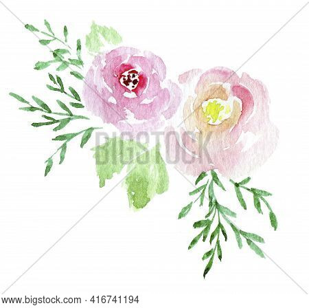 Two Hand Painted Loose Simple Roses Watercolor Clipart Ion White Background
