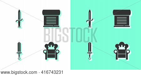 Set Medieval Throne, Dagger, Sword And Decree, Parchment, Scroll Icon. Vector
