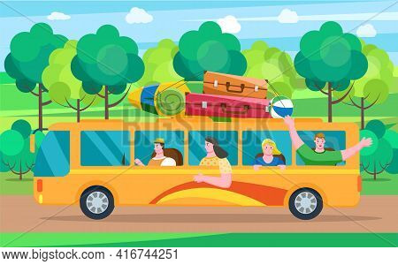 Car Summer Trip Vector Illustration. Happy People On Holidays. Traveler Bus On Background Of Road