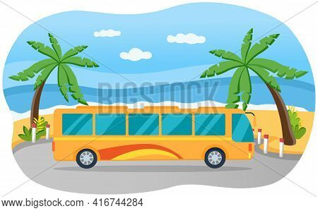 Tourist Yellow Bus With Tinted Windows Driving On Road. Public Transport For Transporting People