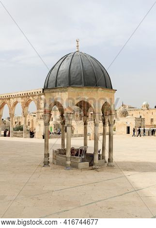 Jerusalem, Israel, March 3, 2021 : The Dome Of The Prophet Near The Dome Of The Rock Mosque On The T