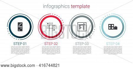 Set Domino, Tic Tac Toe Game, Bingo And Toy Building Block Bricks. Business Infographic Template. Ve