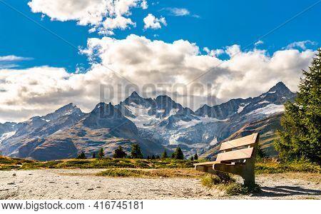 Bench At A Scenic Trail Near Zermatt, Switzerland