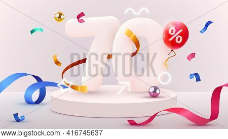 70 Percent Off. Discount Creative Composition. 3d Sale Symbol With Decorative Objects, Heart Shaped