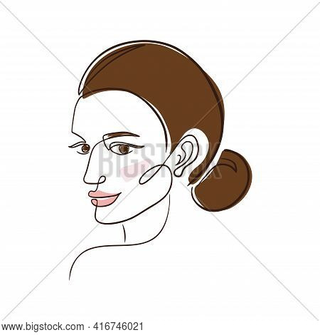 One Line Brown-haired Woman. Continuous Line Drawing Brown-haired Woman Portrait In Minimal Line Sty
