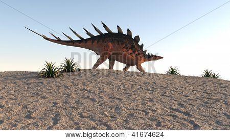 kentrosaurus on sand terrain