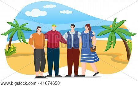 Hikers Or Tourist On Coastline With Palm Trees And Seascape. Friends Come To Summer Resort